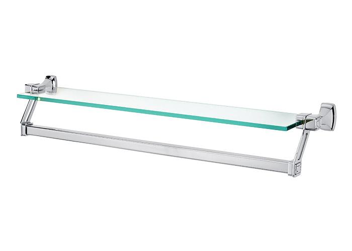 A6527 25 cube 25 glass shelf w towel bar polished Glass towel bar
