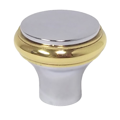 Beau 4618.236   Baldwin Cabinet Knob   Polished Chrome/Brass