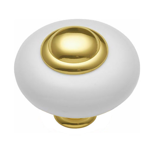 Porcelain Cabinet Knob   White/ Polished Brass