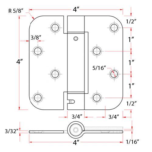 4 quot x 4 quot spring hinge 5 8 quot radius corner