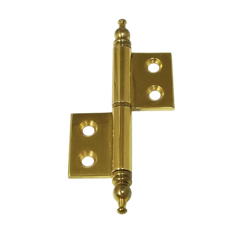 Period Brass Non Mortise With Finial Cabinet Hinge