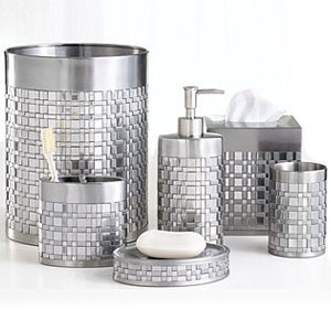 white and silver bathroom accessories basketweave showerrods etc 24611